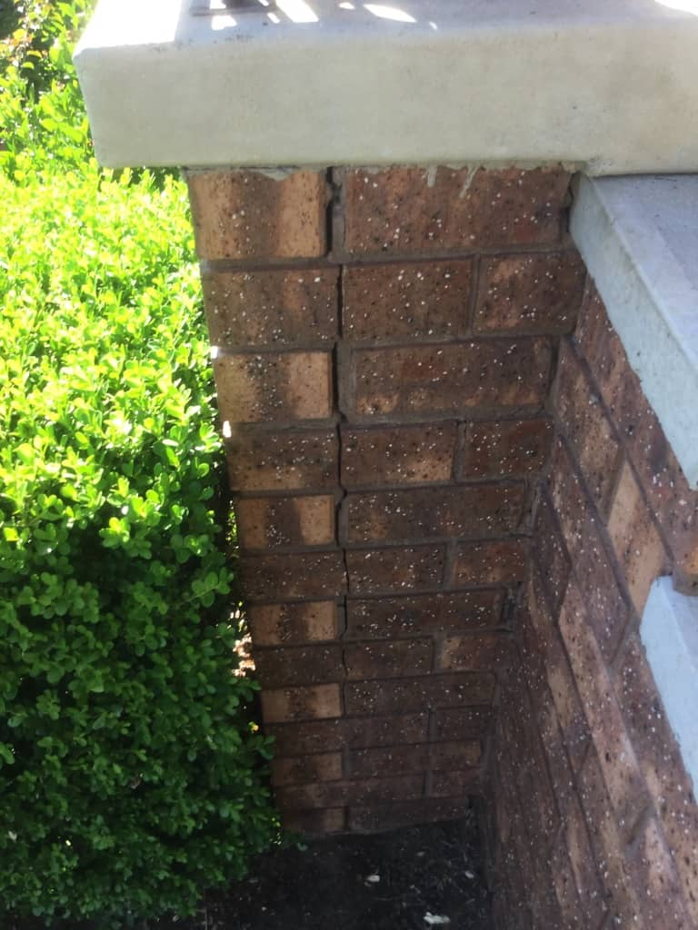 cracking in brick fence columns
