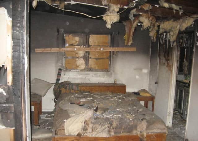 electrical fire severely damaged bedroom